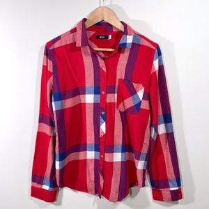 Urban Outfitters/ BDG red & blue button up flannel